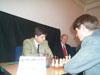 GM Peter Svidler and the chief arbiter of match Geurt Gijssen